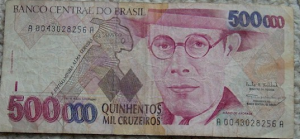 A 500,000 Cruzeiros bill issued during the high inflation period