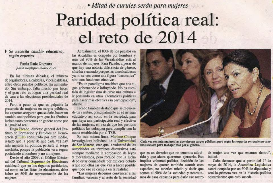 Prensa libre article on the new alterations to the quota system that aim to bring about parity starting in 2014