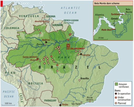 Figure 2: Map of Brazil and its Current and Potential Dams